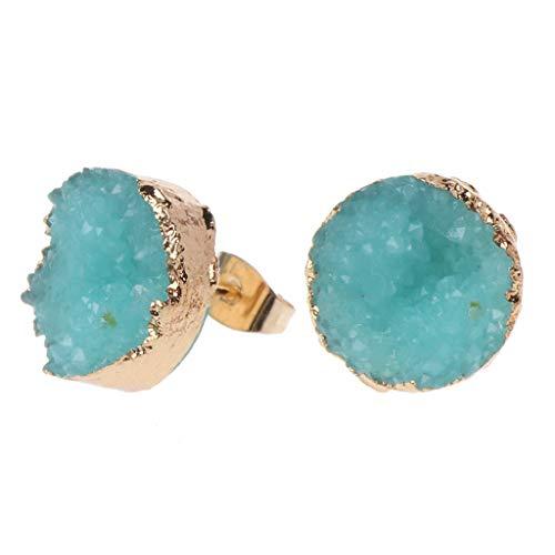 f1c0e089266a Dabixx Druzy Stone Stud Pendientes Mujer Irregular Natural Cuarzo Geoda  Cristal Joyas - Azul