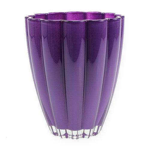 Vase Blumenvase Glasvase lila violett 17 cm hoch - hochwertig • auch als Übertopf für Orchideen Vasen Blumenvasen von Florist