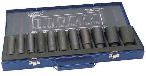 Draper Expert 37847 Lange Hi-Torq-Stecknüsse mit 1/2-Zoll Antrieb, metrisch, 11-teiliges Set