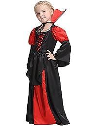 QJXF Niñas De Halloween Traje De Vestir Conjunto, Halloween Cosplay Vampiro, Mini Vestido Largo Vestidos De Fiesta Regalos para…