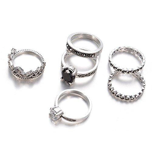 Gespout 6pz femminile di anello anello in acciaio inossidabile stile vintage set di anelli corona imperiale diamante accessori decorativi di moda fingerring set per le ragazze delle donne,argento
