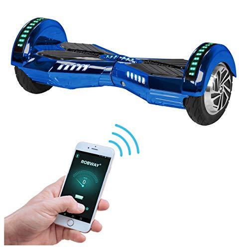 Robway W2 Hoverboard - Das Original - Samsung Marken Akku - Self Balance - Bluetooth - 2 x 350 Watt Motoren - 8 Zoll Räder (Blau Chrom)