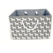 Cesta de almacenamiento plegable de lona gris - Cesta de tela rectangular de alta calidad con