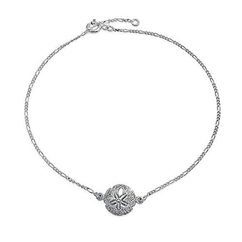 Nautische Silver Dollar Strand Charme Fußkettchen Armband Für Damen 925 Sterling Silber Einstellbar 9 Bis 10 Zoll (Charme Silver Dollar)