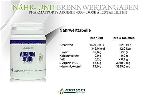 Arginin 4000 – 120 Tabletten a 1000mg reines L-Arginin HCL Vegan