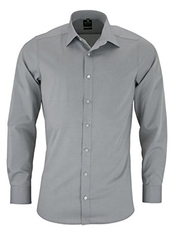 Camicia a maniche lunghe da uomo Level 5 Body Fit Argento