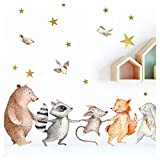 Little Deco Mural de Animales del Bosque de la Mano I A4-21 x 29,7 cm I Mural de Pared Tatuaje habitación los niños decoración niño Pegatina Cuadros bebé DL169