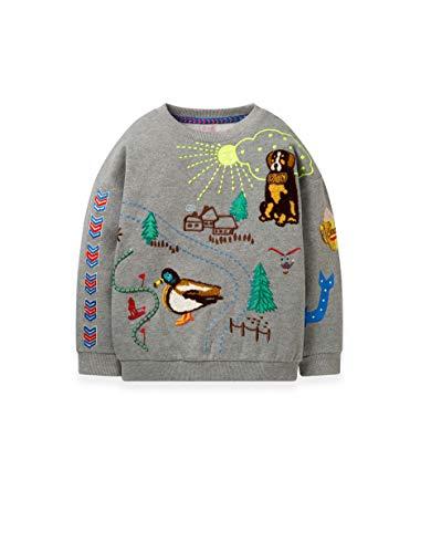 Oilily Heritage Sweatshirt Grau Melee Mit Stickerei YF19GHJ204