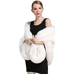 Chal Estola de Pelo Blanco para novias de invierno