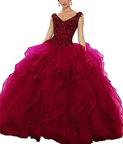 Mingxuerong V-Ausschnitt Spitze Applique Prom Kleid Mädchen Schatz Quinceanera Kleid Ballkleid burgund 58 (Kleid Quinceanera Burgund)