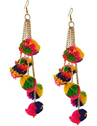 Zephyrr Jewellery Hook Dangle Tassel Long Funky Earrings with Pompoms for Girls