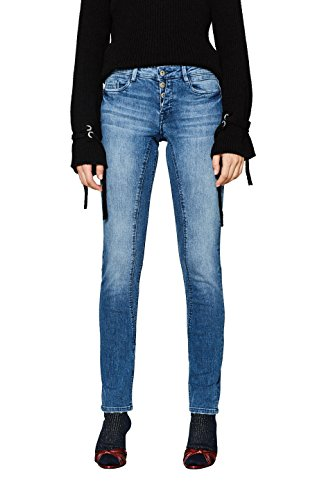 edc by ESPRIT Damen 018CC1B016 Slim Jeans, Blau (Blue Medium Wash 902), W30/L32 - Low-rise-slim-fit-jeans
