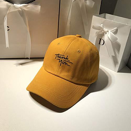 hat-maihef Hut weiblichen Sommer Baseballmütze Student Reisevisor weiblichen beiläufigen Wilden Buchstaben Stickerei Koreanische Version der gebogenen Kappe gelb einstellbar