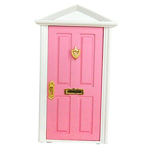 Scala 1/12 Porta In Legno A 4 Pannelli Con Chiave Accessori Casa Delle Bambole In Miniatura, Rosa