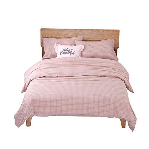 HMEIGUI Bettwäsche Bett Tröster Set Full - 100% Gewaschene Baumwolle Doppel Set mit Fitted Plain gefärbt Plaid Bettwäsche Sammlung, Pflegeleicht 4 Stück Set,Pink_Queen Size -