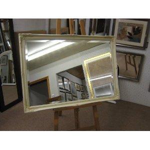 5,1cm ornato crema nascosto da parete, in stile shabby chic e Overmantle specchio-varie misure disponibili (86,4x 61cm tinta unita specchio in vetro)