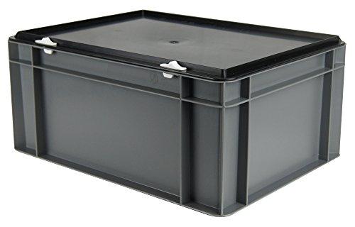 Kunststoff-Stapelbox / Lagerbehälter, grau, mit schwarzem Verschlußdeckel, 400x300x156 mm (LxBxH), stabile Industrie-Ausführung! (Farbe Kunststoff-lagerbehälter)