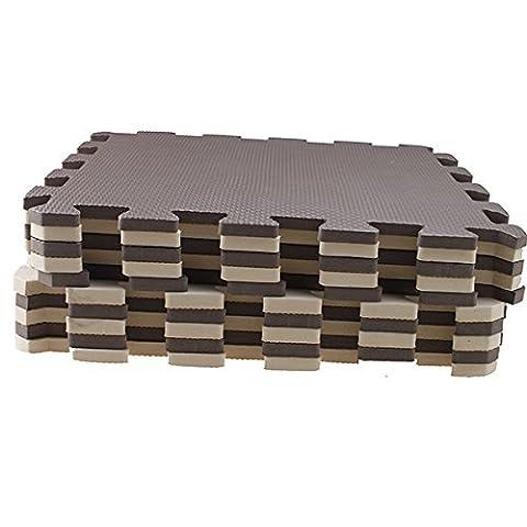 Schaum Boden Matte - TOOGOO(R)10 Stueck Eva Schaum Puzzle Gymnastik Matte Interlocking Boden Fliesen Braun +