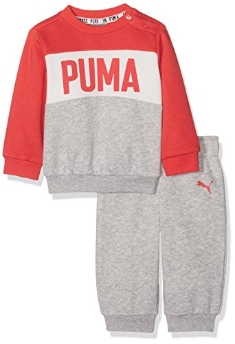 PUMA Jungen Minicats Crew Jogger Trainingsanzug, Light Gray Heather, 92 (Metallic-hosen-anzug)
