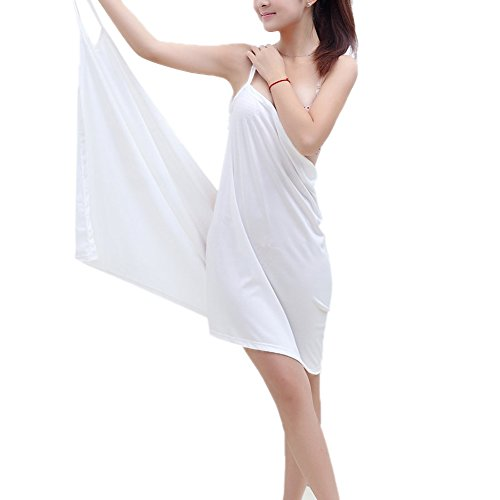 Minetom Femme Été Sexy Col V Sans manche Wearable Séchage Douce Peignoir de Bain Serviette Bathrobe Spa Sauna Paréo Plag