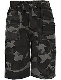 Pour Enfants Uni & Camouflage Poches Multiples Short Armée Garçon Imprimé Cargo Combat