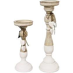 2er Set Kerzenhalter Teelichthalter aus Holz - für Stumpenkerzen Shabby Chic Landhaus Herz Romantik Kerzen Licht Deko Kerzenschein