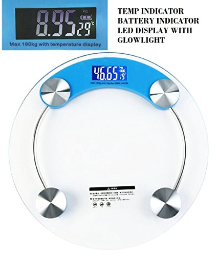 Slings Round Thick Tempered Glass Electronic Digital Personal Bathroom Weight Weighing Scale With Led glowlight, Batter & Temp Indicator (Blue)  available at amazon for Rs.545
