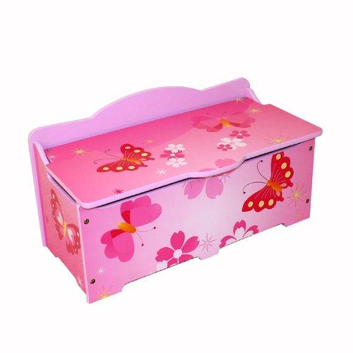 Homestyle4u 645 Kinder Spielzeugtruhe Schmetterling Spielzeugkiste mit Deckel klappbar Aufbewahrungsbox groß Holz Rosa