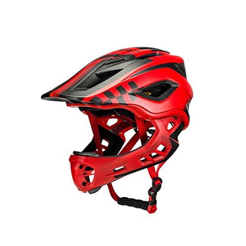 ROCKBROS Downhill Helm Fahrradhelm Integralhelm Fahrrad Kinderhelm 54-58cm Fullface Fahrrad Helm Abnehmbares Kinn Integriert EPS/PC mit 12 Belütungsöffnungen Stoßfest Anti-Schweiß