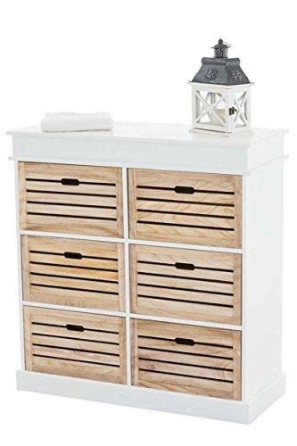 CLP Schubladen-Kommode HENNA V2 im Landhaus-Stil, Sideboard aus Holz, ca. 95 x 40 cm, Höhe 100 cm, Anrichte mit 6 Schubladen Weiß