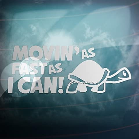 MOVIN AS FAST AS I CAN Turtle Slow Funny Car/Bumper JDM EURO Vinyl Decal Sticker (Silver) by CCG