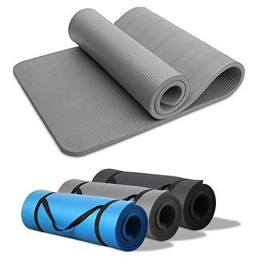 HENGDA Yogamatte Trainingsmatte NBR Gymnastikmatte Extra-Dick 190cm x 60cm x15mm Rutschfeste mit Trageband Ideal für Pilates, Gymnastik, Heimsport Grau