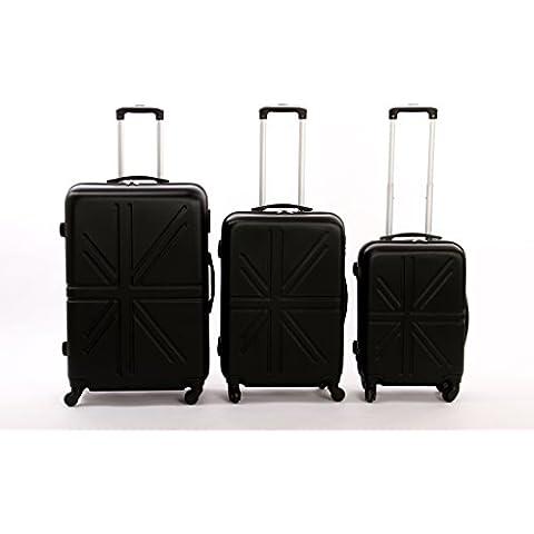 Dublin set da 3 pezzi valige trolly in ABS e policarbonato con 4 ruote girevoli 360° gradi colori vari (argento) - 360 Pezzi Set