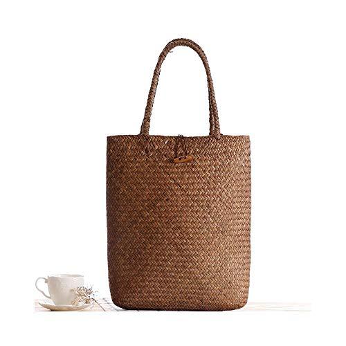 SNXYLOW Rattan Gras Umhängetaschen Straw Womens Knitting Handbags Handmade Aufbewahrungstasche Travel Wicker Ablagekorb mit Knopf -