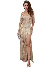 dfcc48e41e8a Missord Women's Shoulder Tassel High Split Glitter Maxi Elegant Party Dress  FT8599