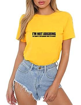 HappyGo Estate Maglietta Moda Donna Elegante Casual Manica Corta Girocollo Lettres Impression T-Shirt Camicie...