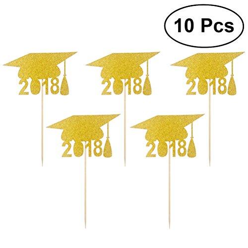 (BESTOYARD Graduation Cap 2018 Cupcake Toppers Kuchen Topper Doctorial Hut Design Kuchen Toothpicks Dekoration 2018 Graduation Party Favors 10ST)