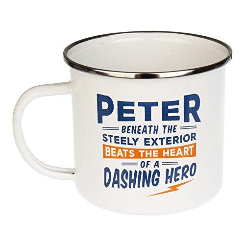 H & H Top Guy Tasse Peter, groß, für Camping, Emaille, 414 oz, Mehrfarbig, leicht, Retro-Design inspiriert für Herren Family Guy Bier