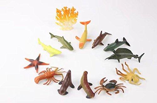 Pack de 12 figuritas de juguete de plástico coloridos, marine animal