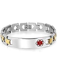 Bling Jewelry Pulsera de Identificación Médica para Hombre con Establones Abiertos Acero Chapado en Oro 8 Pulgadas