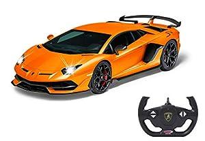 Jamara- Lamborghini Aventador SVJ 1:14 Naranja 2,4 GHz - Licencia Oficial, hasta 1 Hora de conducción en Aprox. 9 km/h, Detalles Perfectamente reproducidos,, Color (405170)