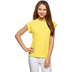 oodji Ultra Femme T-Shirt Basique en Coton à Ourlet Brut, Jaune, FR 36 / XS