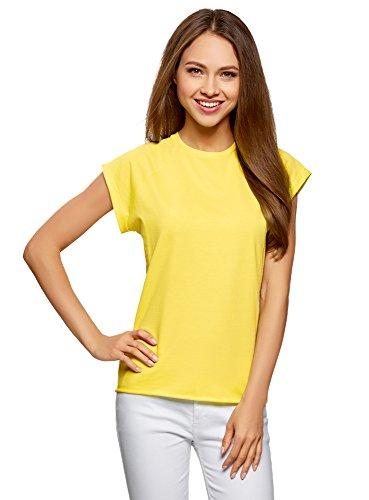 oodji Ultra Damen T-Shirt Basic Aus Baumwolle, Gelb, DE 34/EU 36/XS