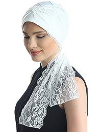 Turbante para pérdida del cabello, diseño de diamante con extremos de encaje