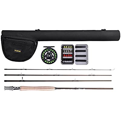 PLUSINNO® Lightweight Ultra Portable Fly Fishing Rod Graphite Pole with Japanese 30-ton Toray Carbon Fiber Blanks and Chromed Stainless Steel Snake Guides 4-Piece with Rod Case from PLUSINNO