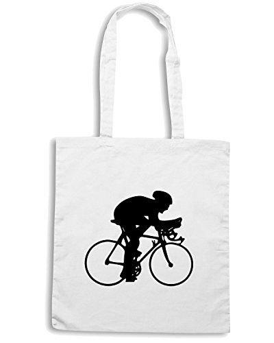 T-Shirtshock - Borsa Shopping SP0044 ciclista Maglietta Bianco