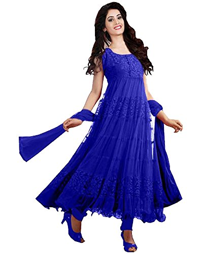 Great Indian Festival Anarkali suits for women Designer Party Wear Today Offer Low Price Sale Top Blue Color Brasso & Net Fabric Free Size Salwar Suit  available at amazon for Rs.498