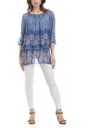 Laura Moretti - Chemisier en soie florale avec manches chauve-souris Bleu