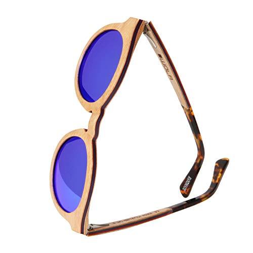 WOLA Damen Sonnenbrille Holz BAUM Brille rund Vollholz und Acetat polarisiert UV400 Birke blau verspiegelt Unisex Damen M - Herren S
