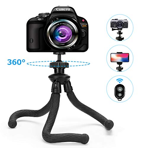 Kamera Stativ Flexibel, Fansteck Mini Gorillapod Handy Tripod mit Bluetooth Fernbedienung, Dreibein Leichte Reisestative Fotostativ für iPhone, Samsung Galaxy, GoPro, Kamera und Alle Smart Phone
